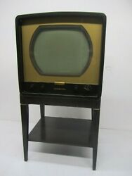 Vtg 1950s Rca Victor 6-t-53 6t53 Newport Metal Tube Television Tv And Stand As Is