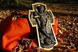 Archangel Michael Wooden Carved Religious Christian Gift Wall Hanging Home Decor
