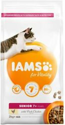 Iams For Vitality Senior Cat Food With Fresh Chicken 2kg Complete Balanced Fresh