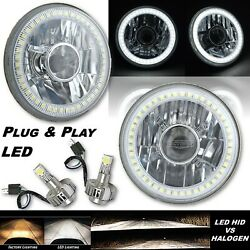 5-3/4 Projector White Smd Halo Angel Eye Crystal Headlight And 6k Led Bulb Pair