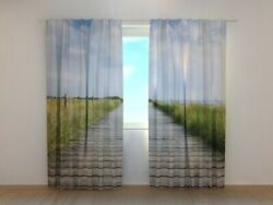 3d Curtain Printed With Wooden Walkway On Sylt Island Wellmira Made To Measure