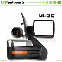 Chrome For 2004-14 Ford F-150 Power+heated Led Puddle Signals Side Mirrors Pair