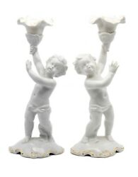 Germany 1930, Schaubach Kunts White Porcelain Pair Of Candle Holders Nice