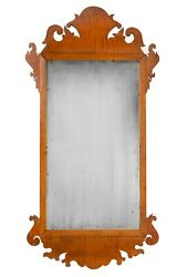 18th C. New England Solid Tiger Maple Chippendale Mirror Very Rare