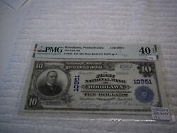 1902 10 Woodlawn Pennsylvania Pa National Currency Plain Back 10951  Pmg 40