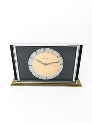 Beautiful Rare Lecoultre Table Desk Clock With 8 Days From The 40ies.