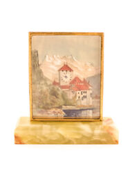 Little Table Clock Painting Lake Monastery Unsigned Could Be Didisheim