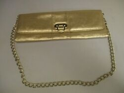 Vintage Gold Clutch Handbag Purse Evening Bag With Buckle Close amp; Gold Chain $9.99