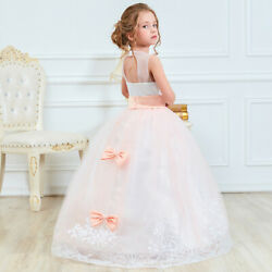 Flower Girl Dress Lace Princess Girls Kids Pageant Dresses Weeding Formal Gown