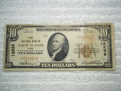 1929 10 Couer D' Alene Idaho Id National Currency T1 13288 1st National Bank