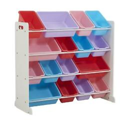 4 Layer Toy Storage Organizer Bin Box Playroom Furniture with 16 Container Bins