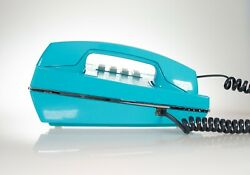 Vintage Push Buttons Phone In Ocean Aqua Blue Glossy Finish Tone Mode -restored-