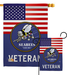 Us Seabees Veteran Garden Flag Armed Forces Navy Decorative Yard House Banner