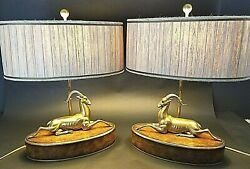 Pair of THEODORE ALEXANDER Solid Brass Gazelle & Burl Wood Table Lamps w Shades