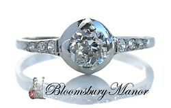 1920s French Antique Art Deco .45ct G/vs Old Cut Diamond Engagement Ring Plat