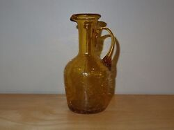 Vintage Amber Crackle Glass Pitcher - 5 3/4 Tall - Collectible - Used/vgc