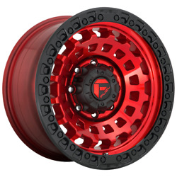 4 Wheels Fuel 1pc Zephyr Candy Red Black Bead Ring 18x9 Rims 5x150 +1 Offset