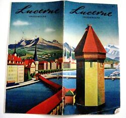 Vintage Travel Brochure Lucerne Switzerland W/ Colorful Pictures And Map