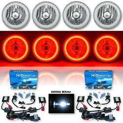 5-3/4 Red Smd Led Halo Crystal Clear Glass H4 Headlight And 6k Hid Bulb Set Of 4