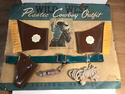 Vintage Wild West Plastic Cowboy Outfit By Palitoy 1940s 50s On Card Johnny West