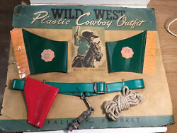 Vintage Palitoy Wild West Plastic Cowboy Outfit 1940s 1950s On Card Johnny West
