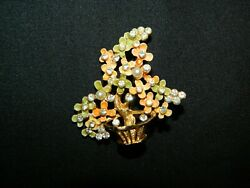 B.S.K. COLORFUL FLOWER  PLANT JEWELED PIN BROOCH
