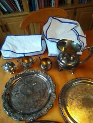 9 piece Silver plate silverware service collection with 2 silver bags serving $199.99