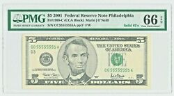 2001 5 Solid 5and039s Serial Number Cc 55555555 A Pmg 66 Gem Unc Epq Fr 1988-c
