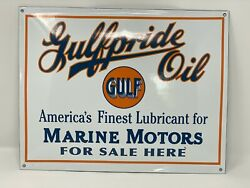 New Porcelain Gulf Gulfpride Oil Advertising Sign Concave Hi-quality Man Cave