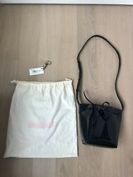 Mansur Gavriel Mini Mini Bucket Bag Black Patent Leather Matte Leather Interior $198.00