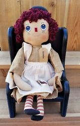 Annie Raggedy Anne Doll Primitive Country Cloth Doll Country Decor - New