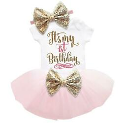 It's My 1st Birthday Sets Baby Girl Tutu Cake Dress Outfit Party Clothes 3pcs  $11.98