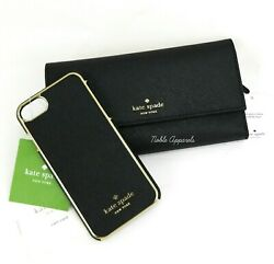 Kate Spade Leather Phone Wallet iPhone 6 6s 7 8 Case Black