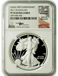 2011-w 1 Proof Silver Eagle Ngc Pf70 Ultra Cameo Mercanti Signed 25th Anniversa