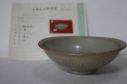 Chinese Old Yuan Dynasty Ying Qing Bowl With Coa / W 16.3[cm] Ming Plate Vase