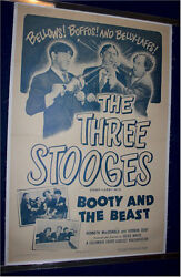 Three 3 Stooges Original Vintage Movie Poster Booty And The Beast 1953