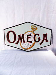 Beautiful Xxl Omega Enamel Advertising Sign 40and039s Indoor Or Outdoors.