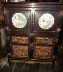 Unusual Antique Chinese Cabinet W/h.p. Porcelain Panels Gilt Carved Embellishme