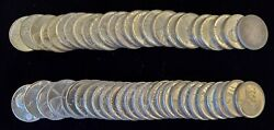 1943-p Steel Lincoln Penny Wheat Cent Roll 50 Coins In Au - Bu Condition - H