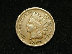 Spring Sale Vf-xf 1897 Indian Head Cent Penny W/ Full Liberty And Diamonds 37j