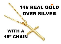 Real 10Kt Yellow Gold CROSS Pendant Necklace amp; 10k gold ROPE 18inch Chain $19.99