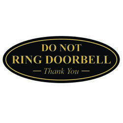 Oval Do Not Ring Doorbell Thank You Sign - Black / Gold Small
