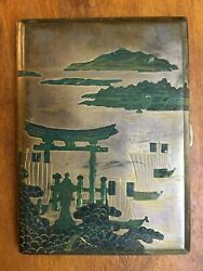 Handmade Silver Hand Engraved Colored Gold Plate Japanese Scenery Cigarette Case