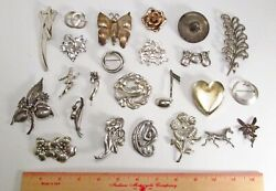 Vintage Lot 24 All Sterling Silver 925 Mixed Theme Pins Brooches 249g No Stones