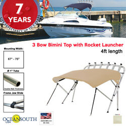 Oceansouth 3 Bow Bimini Top With Rocket Launcher 4ft Length 67- 75 Sand