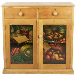 Antique Primitive Pine 2 Door 2 Drawer Jelly Cupboard Cabinet 42 W X 42 Tall
