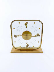 Super Rare Lecoultre Aquarium Fishes 8 Days Table Clock From The 1950´s.