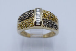 Amazing Lady Ring With 0.33 Ct White Yellow And Brown Diamonds In 10k Yellow Gold