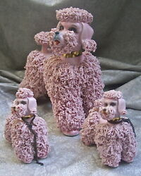 Large Vintage 8 Tall Porcelain Pink Poodle Mom And Her 2 Pups - What Faces