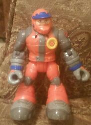 2001 Rescue Heroes Snowmobile Driver Action Figure - Orange Fisher Price